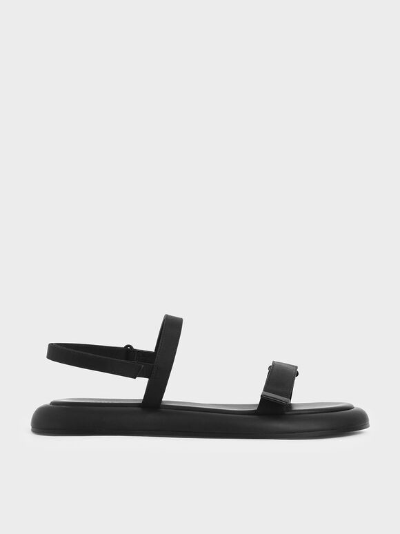 Velcro Strap Sandals, Black, hi-res