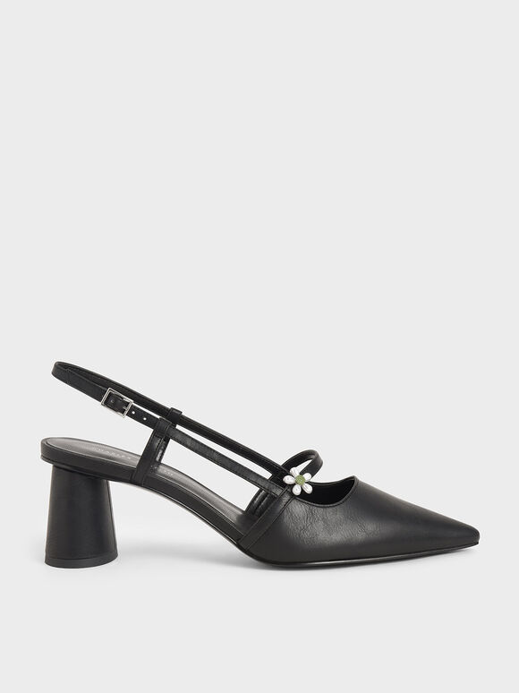 Flower-Embellished Slingback Mary Janes, Black, hi-res