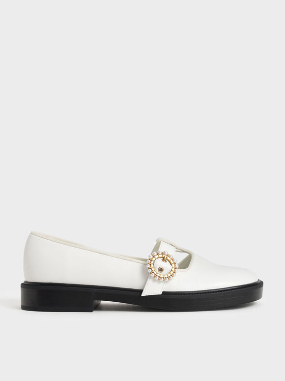 Beaded Buckle T-Bar Flats, White, hi-res