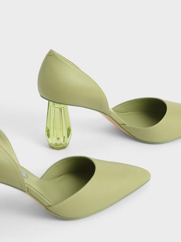 Geometric Heel D'Orsay Court Shoes, Sage Green, hi-res