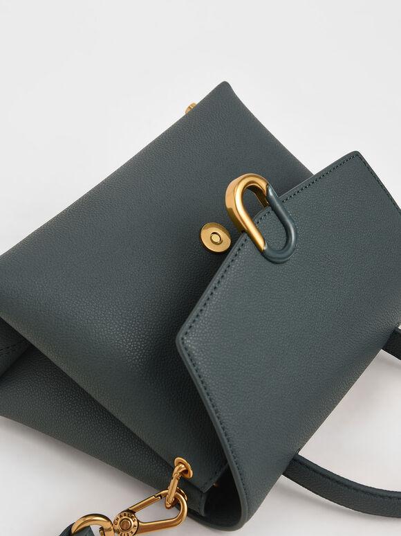 Stone-Embellished Front Flap Bag, Teal, hi-res
