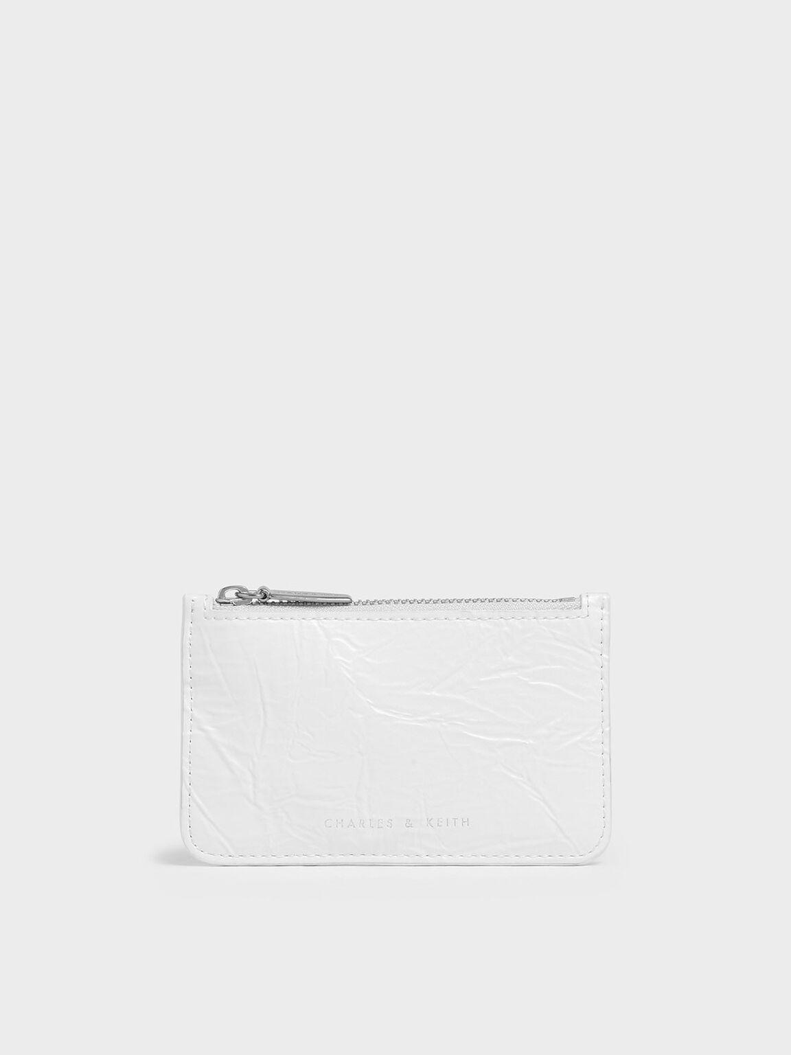 Wrinkled Effect Top Zip Cardholder, White, hi-res
