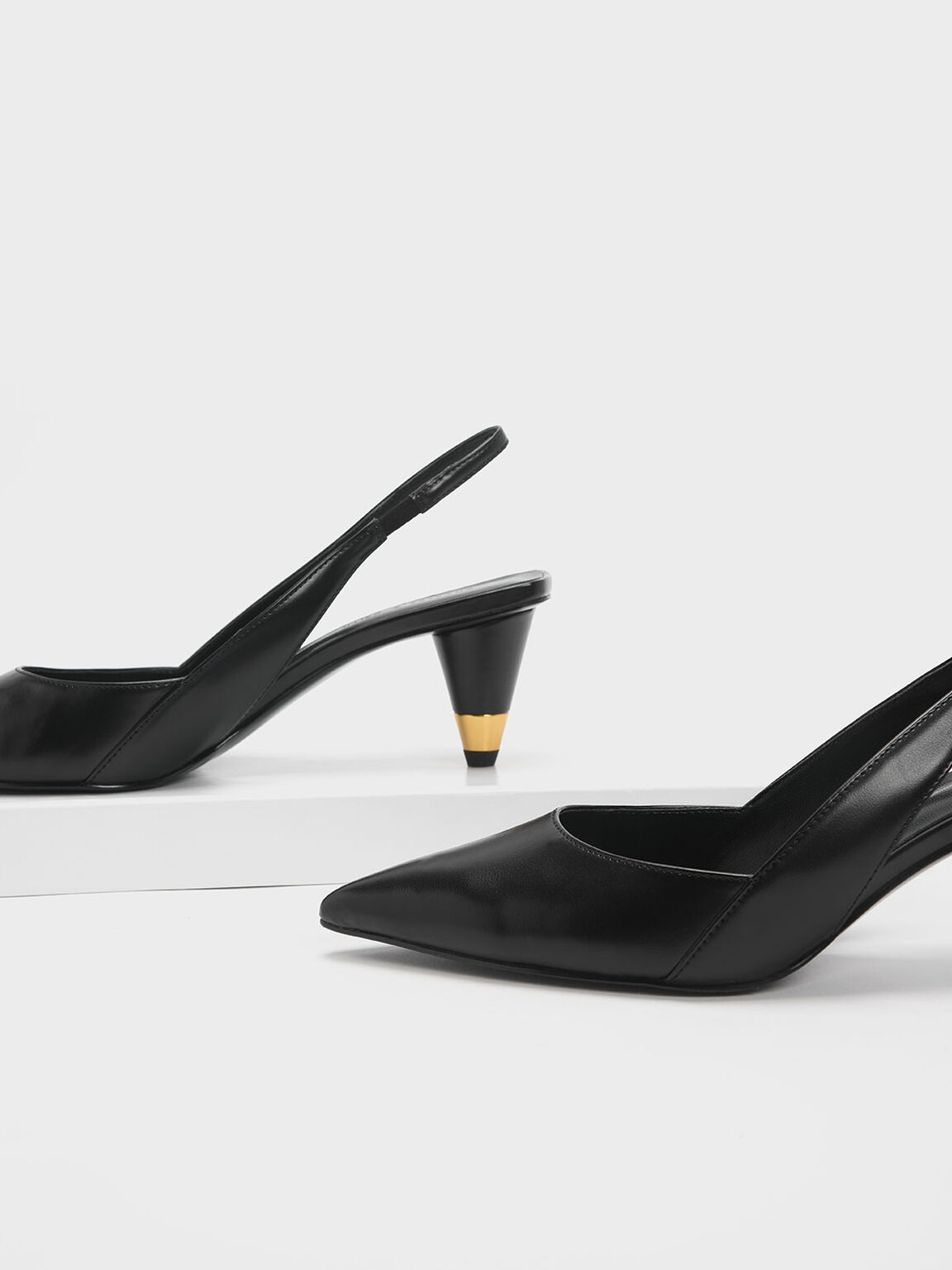 Gold Accent Cone Heel Slingbacks, Black, hi-res