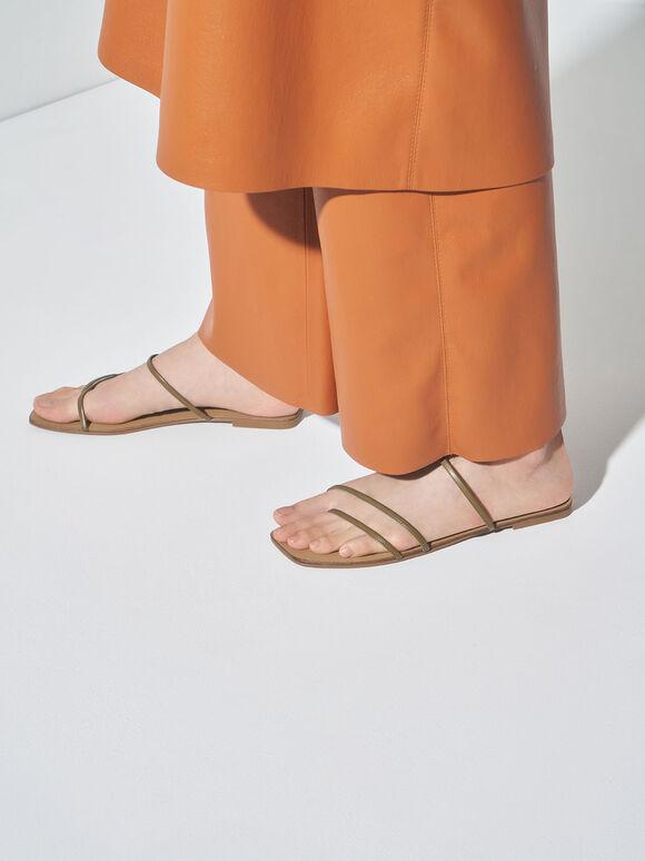 Strappy Thong Sandals, Olive, hi-res