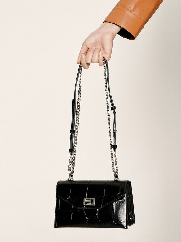 Croc-Effect Turn-Lock Crossbody Bag, Black, hi-res
