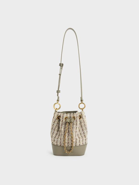 Chunky Chain Tweed Bucket Bag, Taupe, hi-res