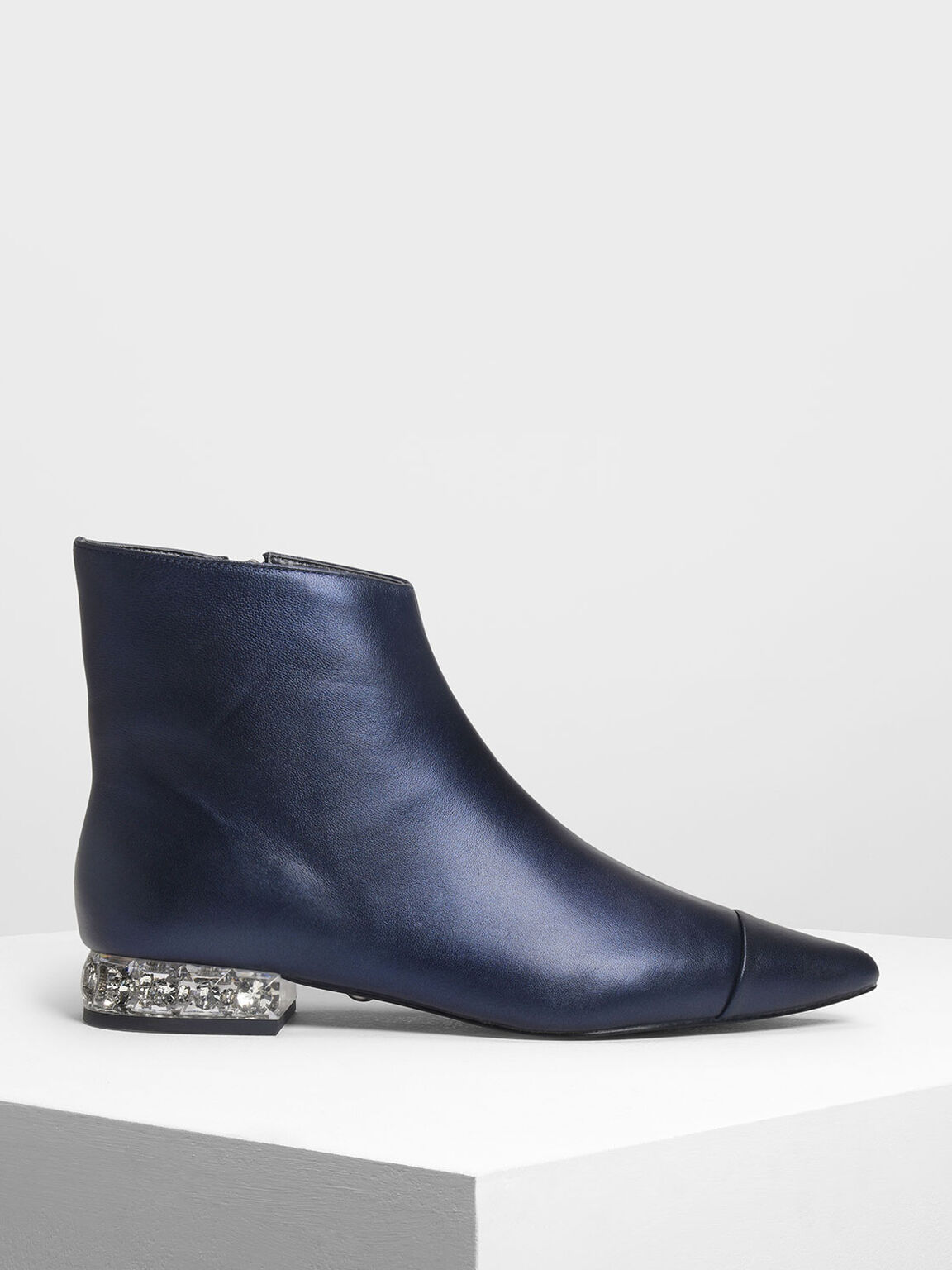 Faceted Lucite Heel Leather Boots, Dark Blue, hi-res