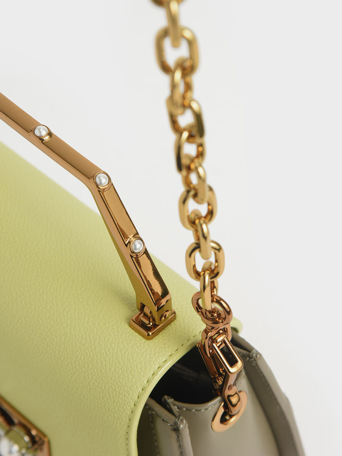 Geometric Top Handle Saddle Bag, Lime, hi-res