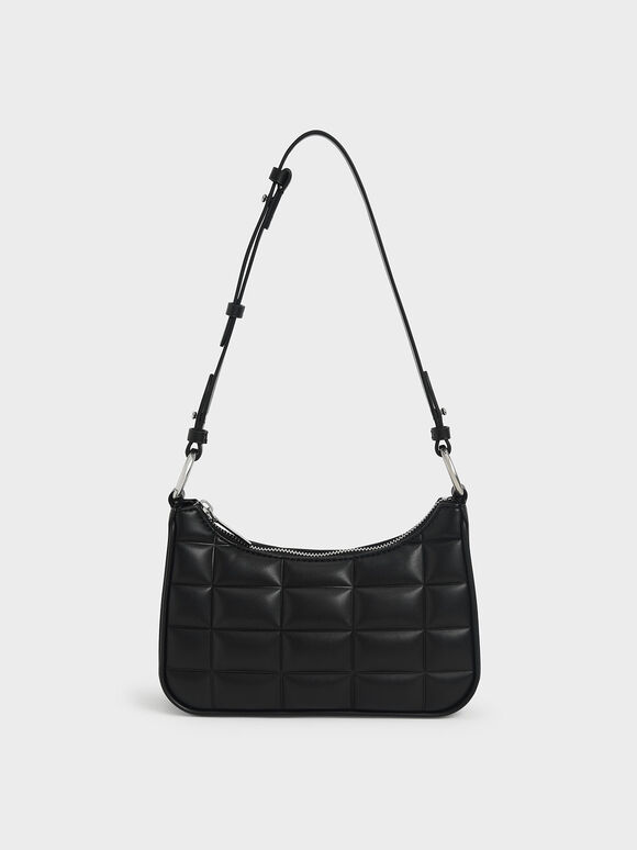Quilted Chain Shoulder Bag, Black, hi-res