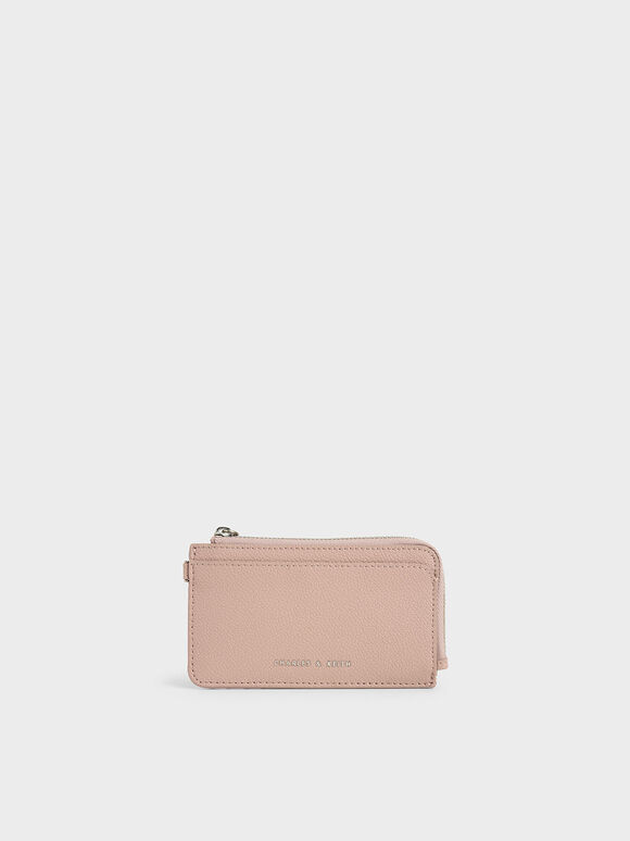 Top Zip Card Holder, Pink, hi-res