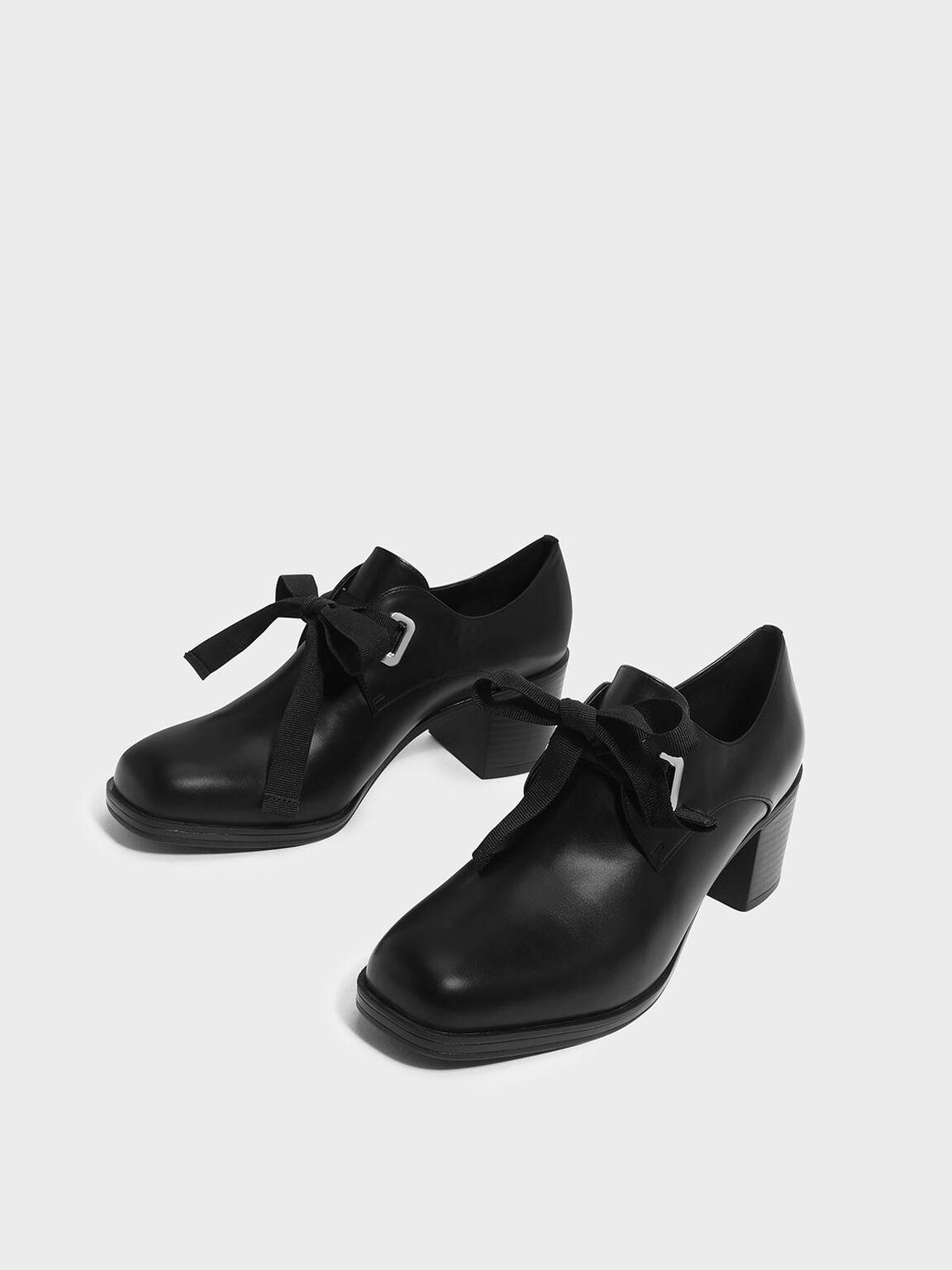Stacked Heel Oxfords, Black, hi-res
