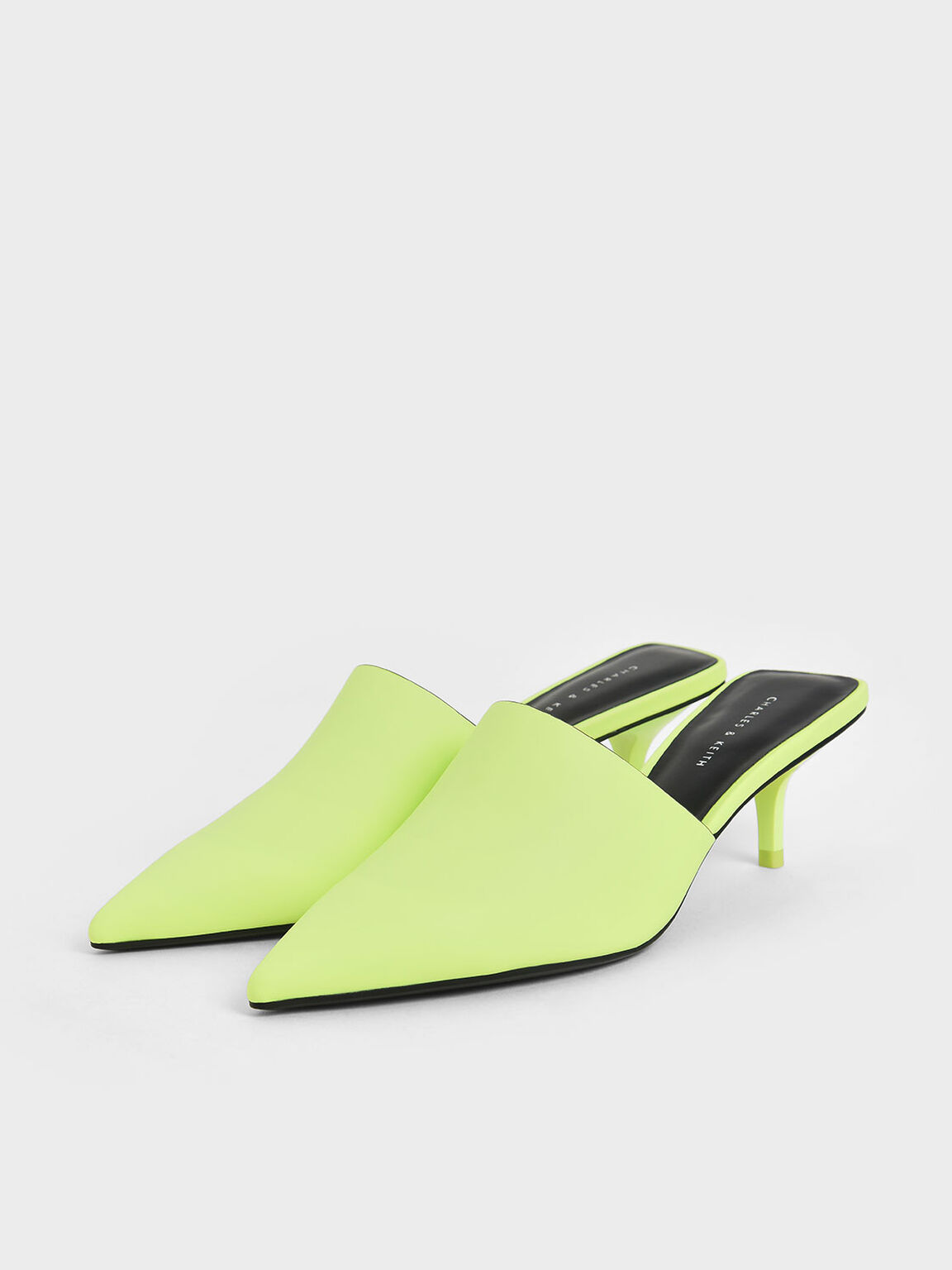 Pointed Toe Mules, Yellow, hi-res
