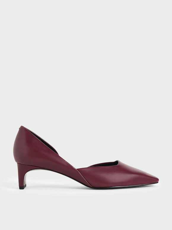 Square Toe D'Orsay Court Shoes, Burgundy, hi-res