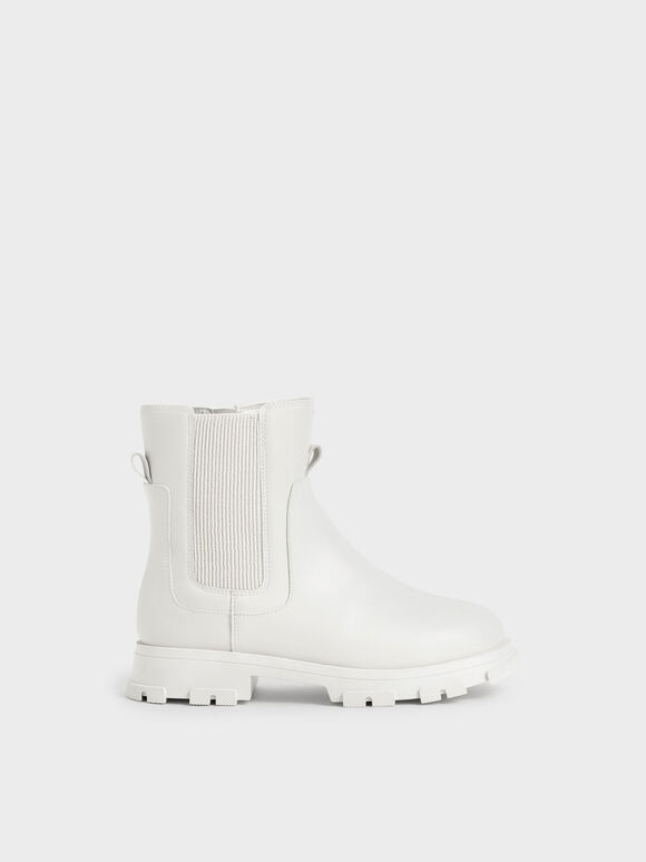 Girls' Chunky Sole Chelsea Boots, White, hi-res