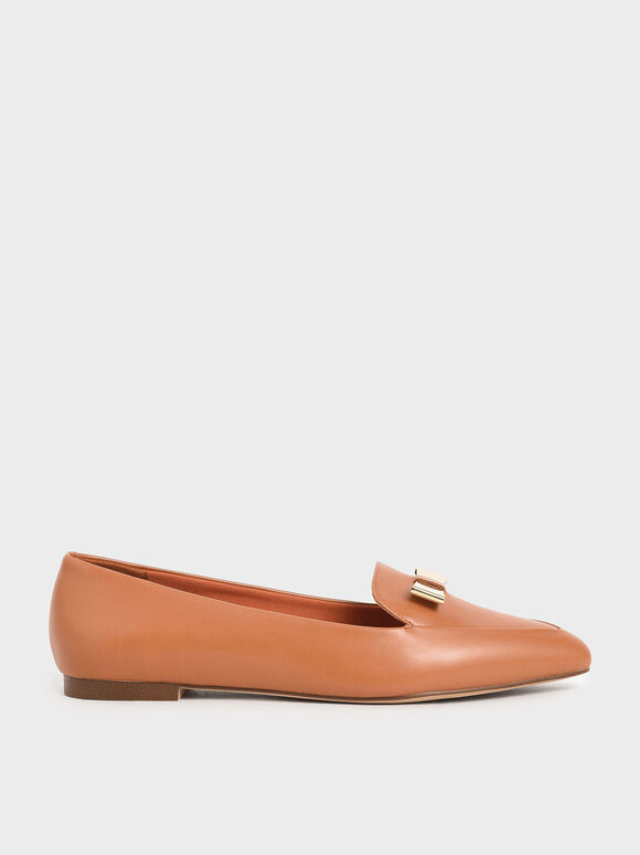 Metal Bow Pointed Loafers, Brick, hi-res