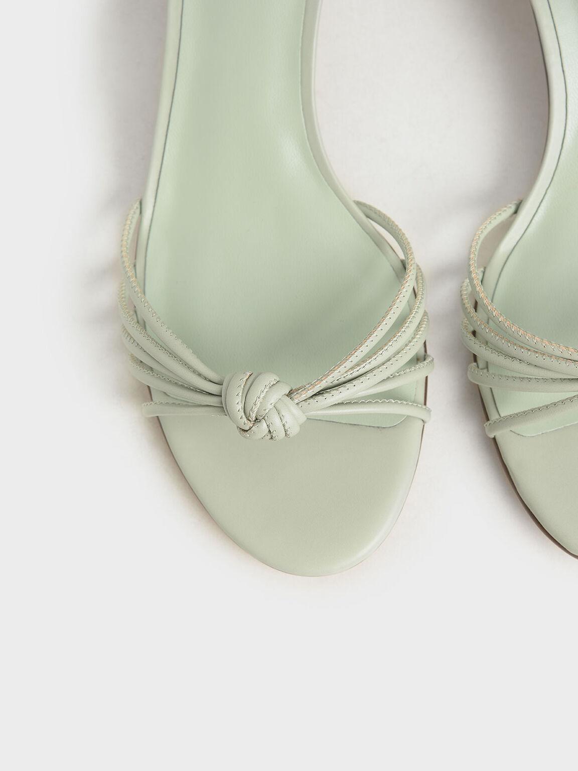 Geometric Heel Ankle Tie Sandals, Mint Green, hi-res