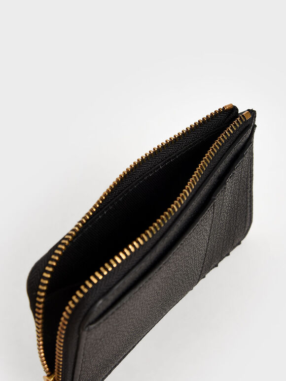 Zip Card Holder, Black, hi-res