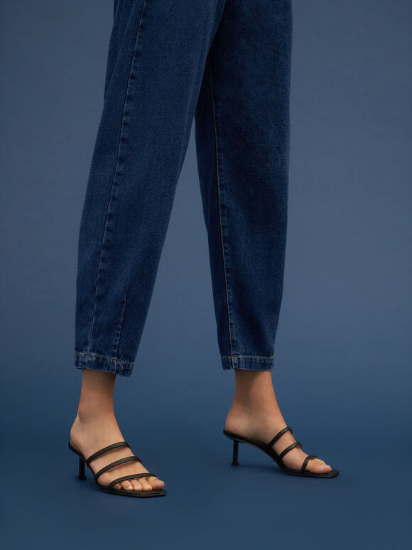 Strappy Heeled Mules, Black, hi-res