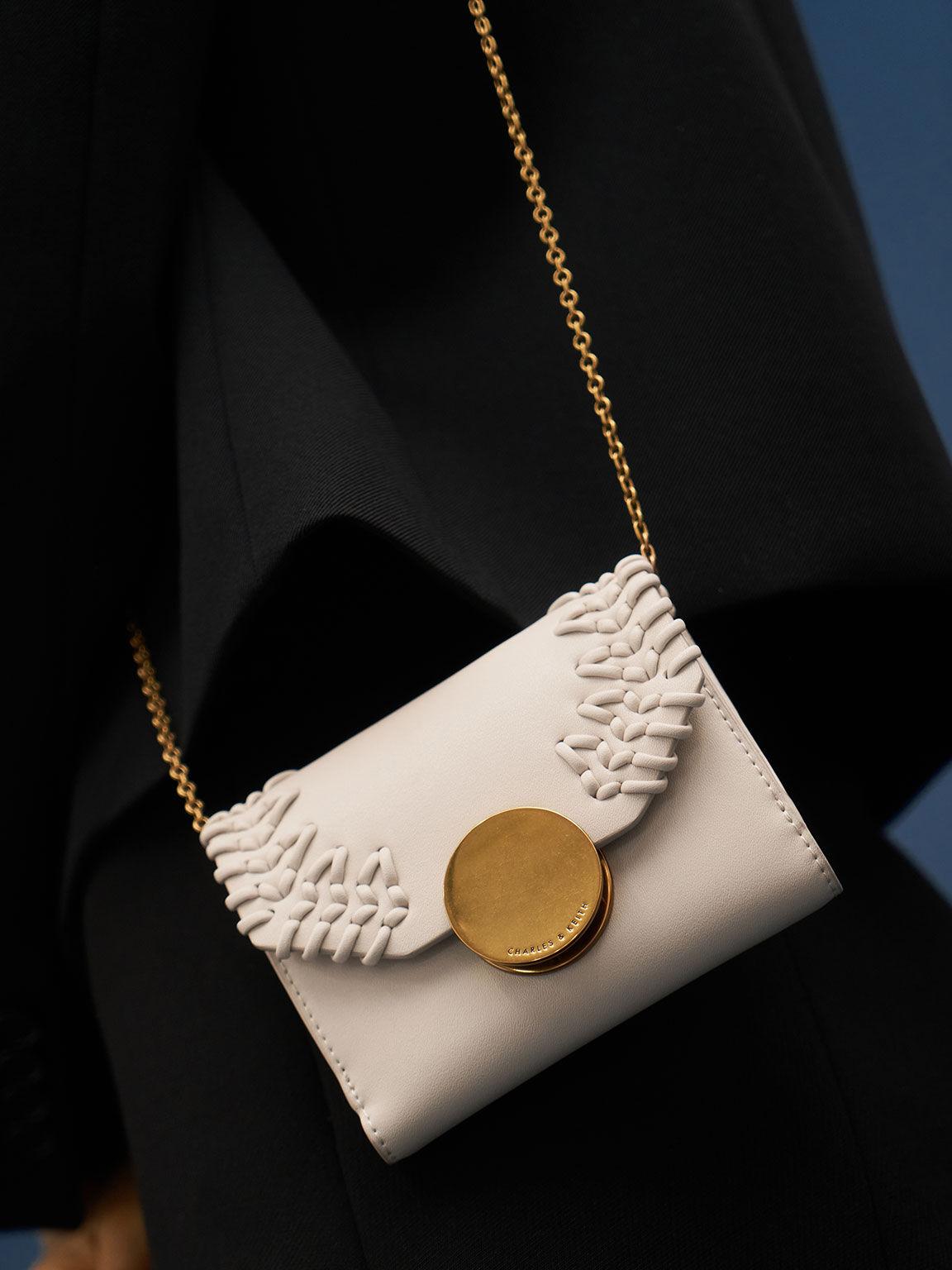Stitch-Trim Short Wallet, Ivory, hi-res