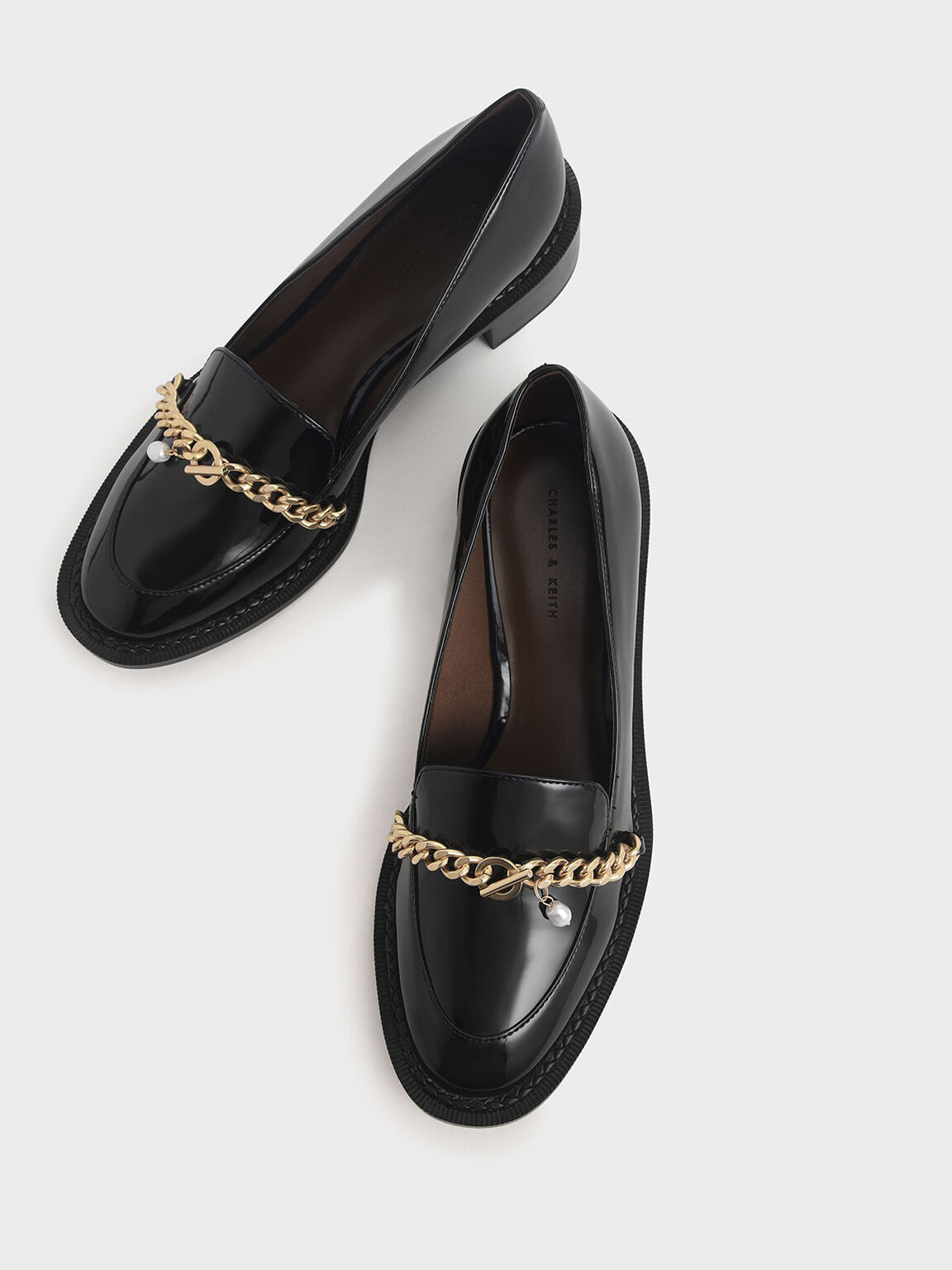 Patent Chain Link Loafers, Black, hi-res
