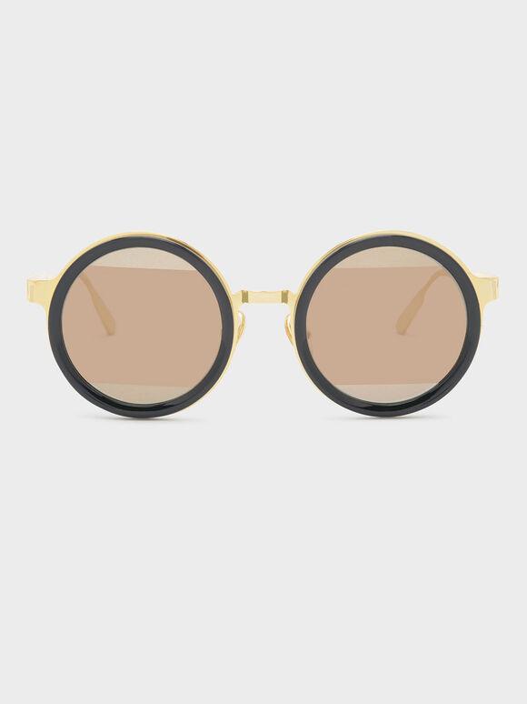 Round Frame Sunglasses, Black, hi-res