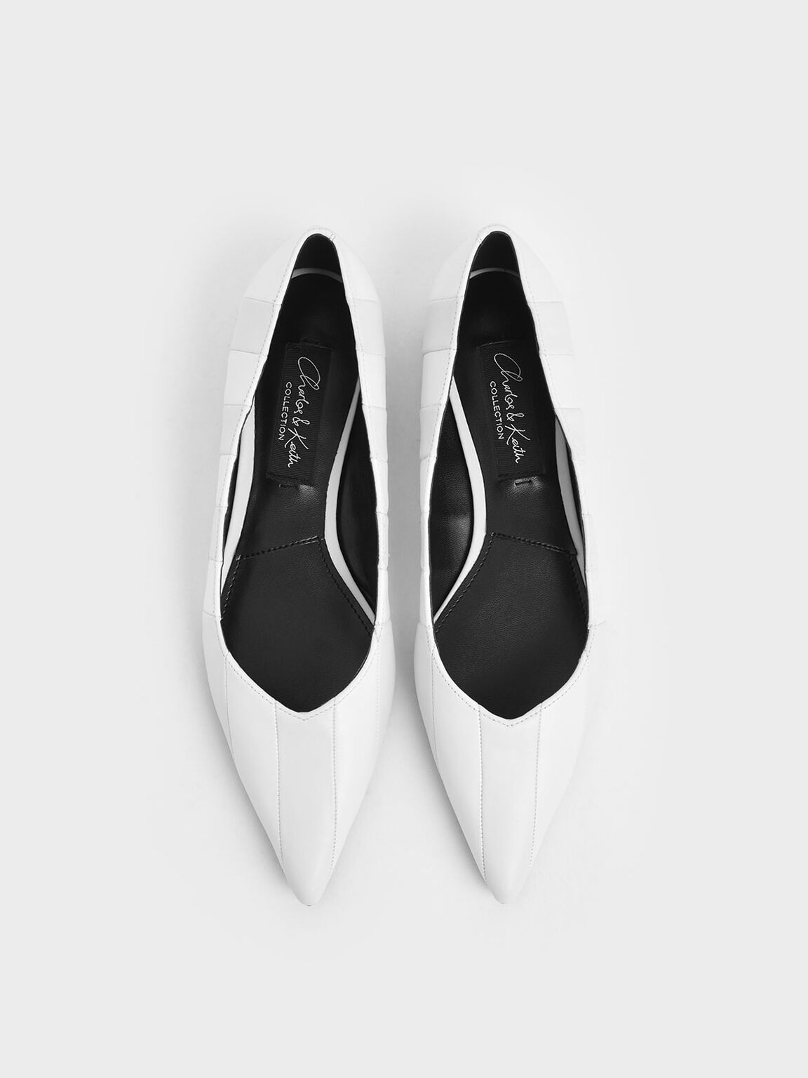 Wrinkled Leather Striped Ballerina Flats, White, hi-res