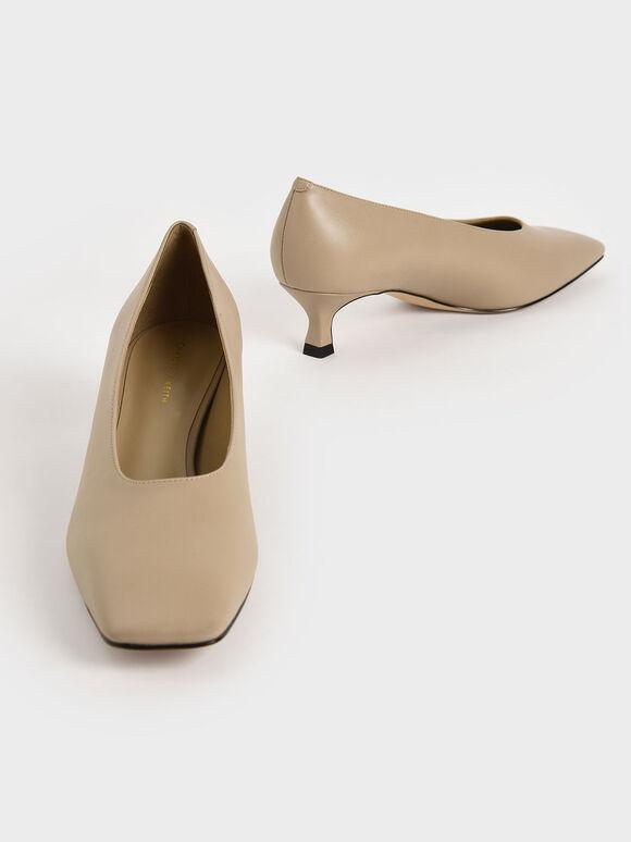 Square Toe Kitten Heel Court Shoes, Beige, hi-res