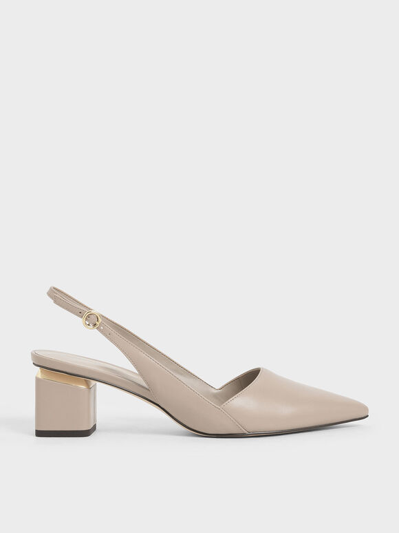 Pointed Slingback Heels, Taupe, hi-res