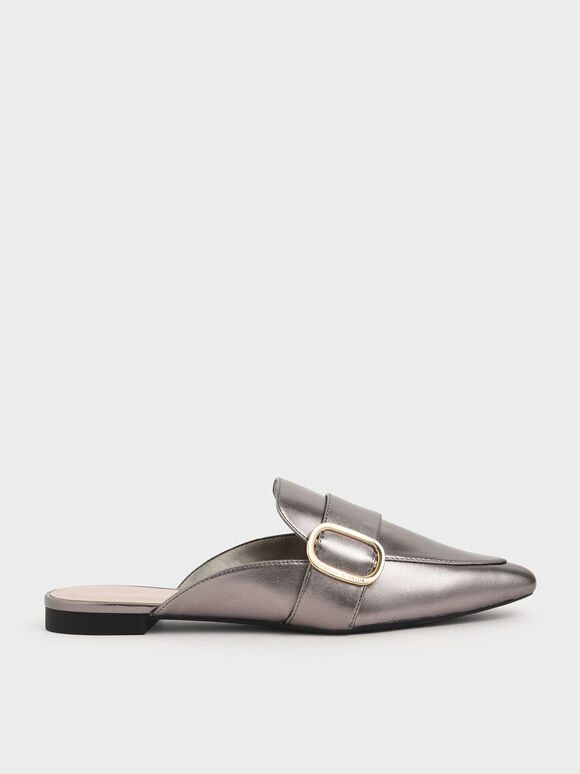 Oversized Buckle Pointed Toe Metallic Mules, Pewter, hi-res