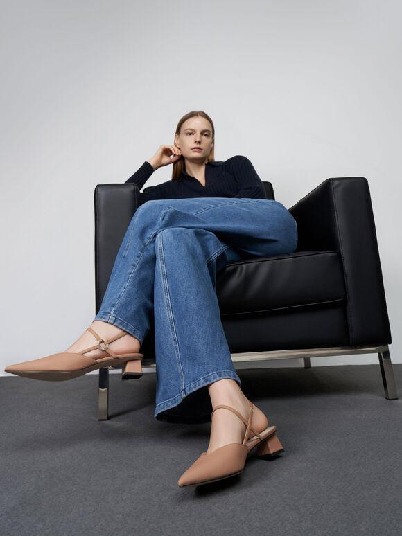 Embellished Ankle Strap Pointed Pumps, Beige, hi-res