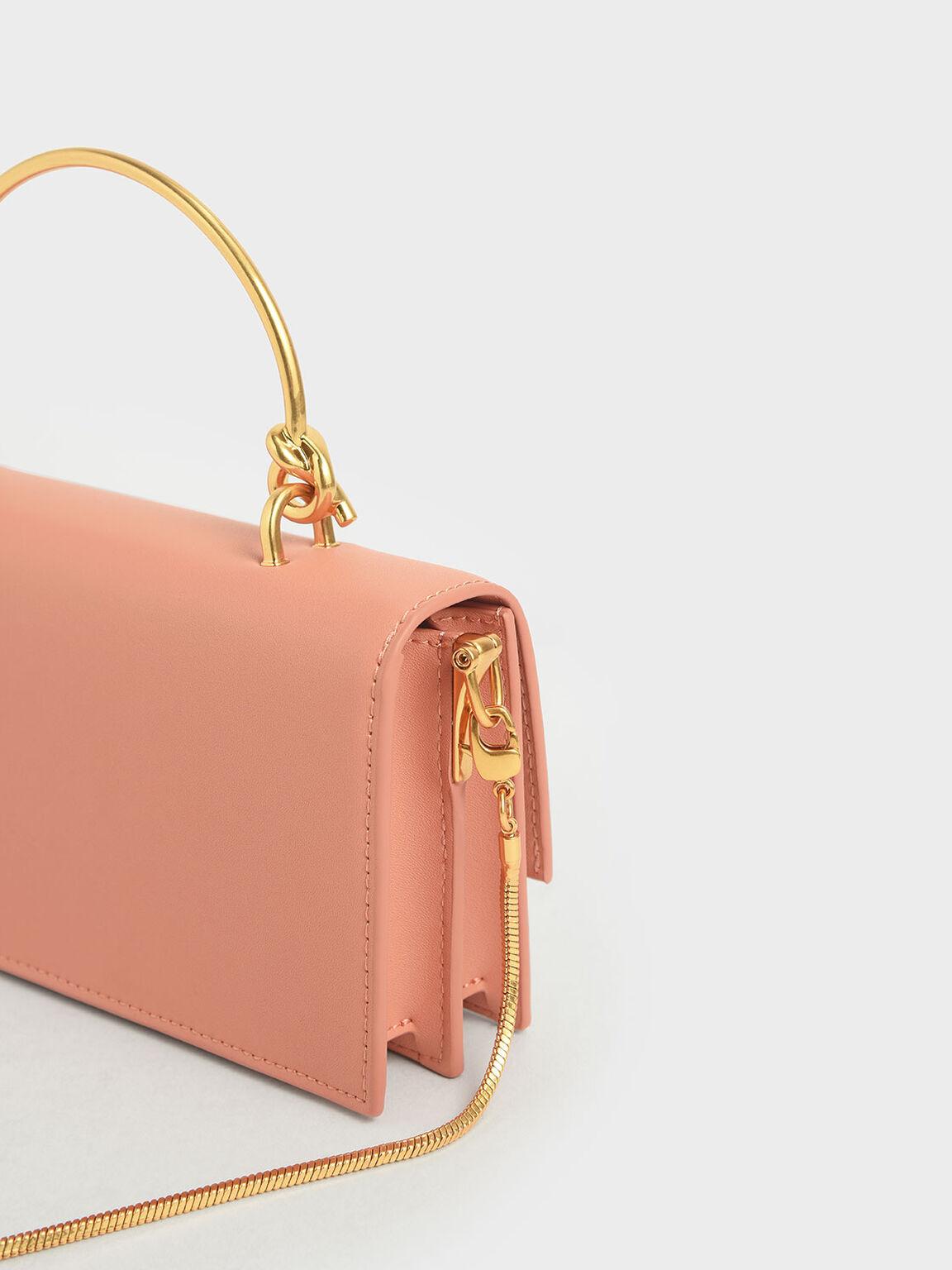 Metal Top Handle Long Wallet, Peach, hi-res