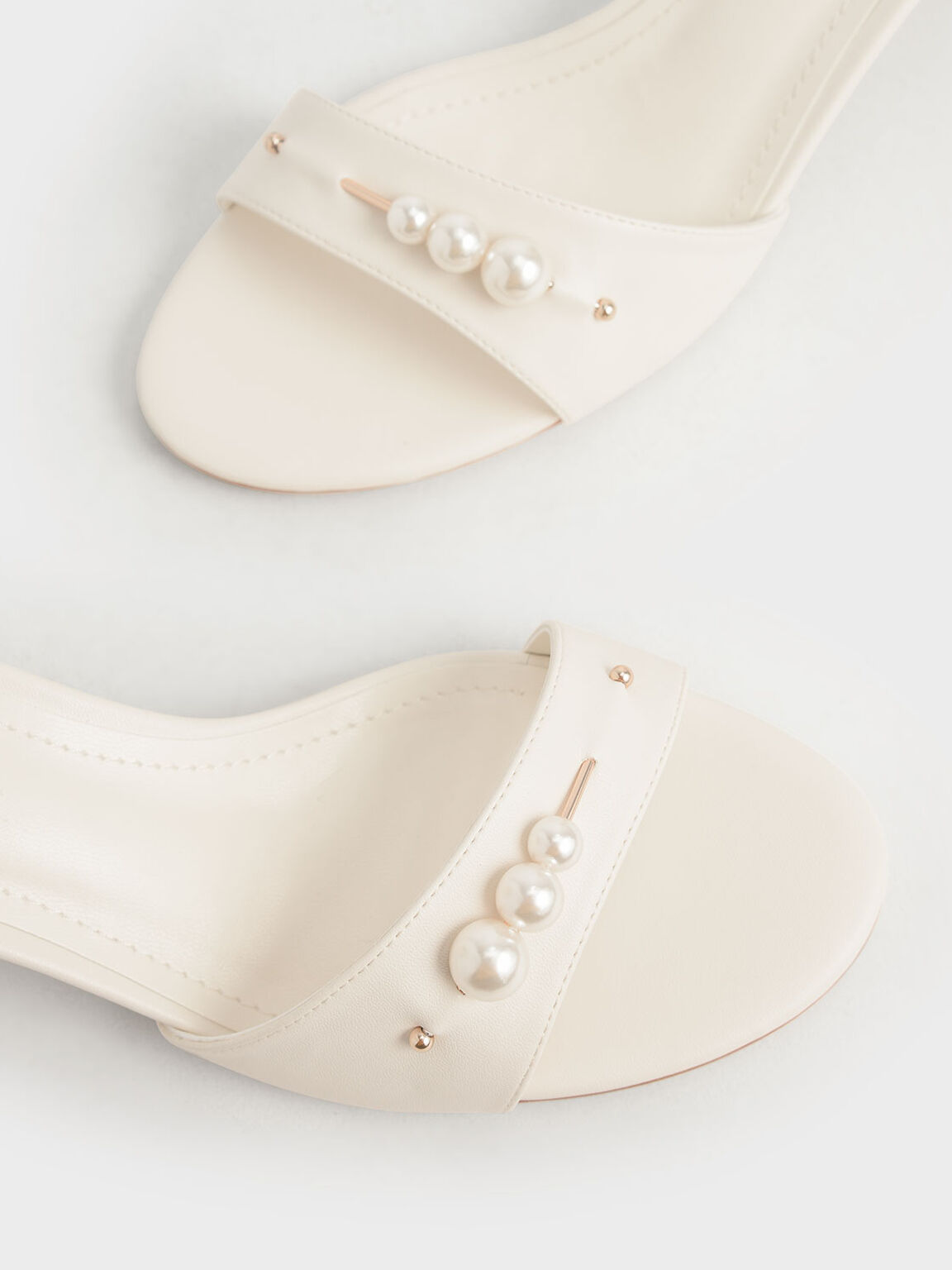 Embellished Block Heel Sandals, Chalk, hi-res