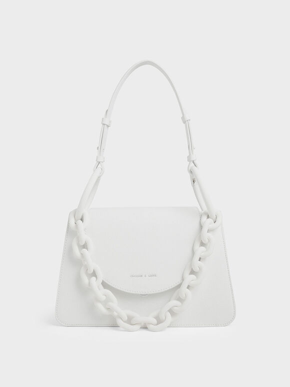 Chunky Chain Link Shoulder Bag, White, hi-res