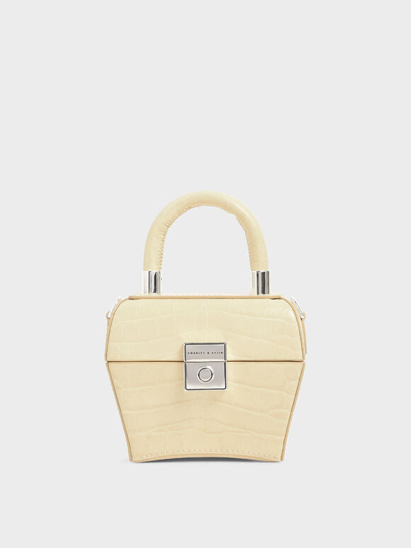 Croc-Effect Mini Sculptural Bag, Yellow, hi-res