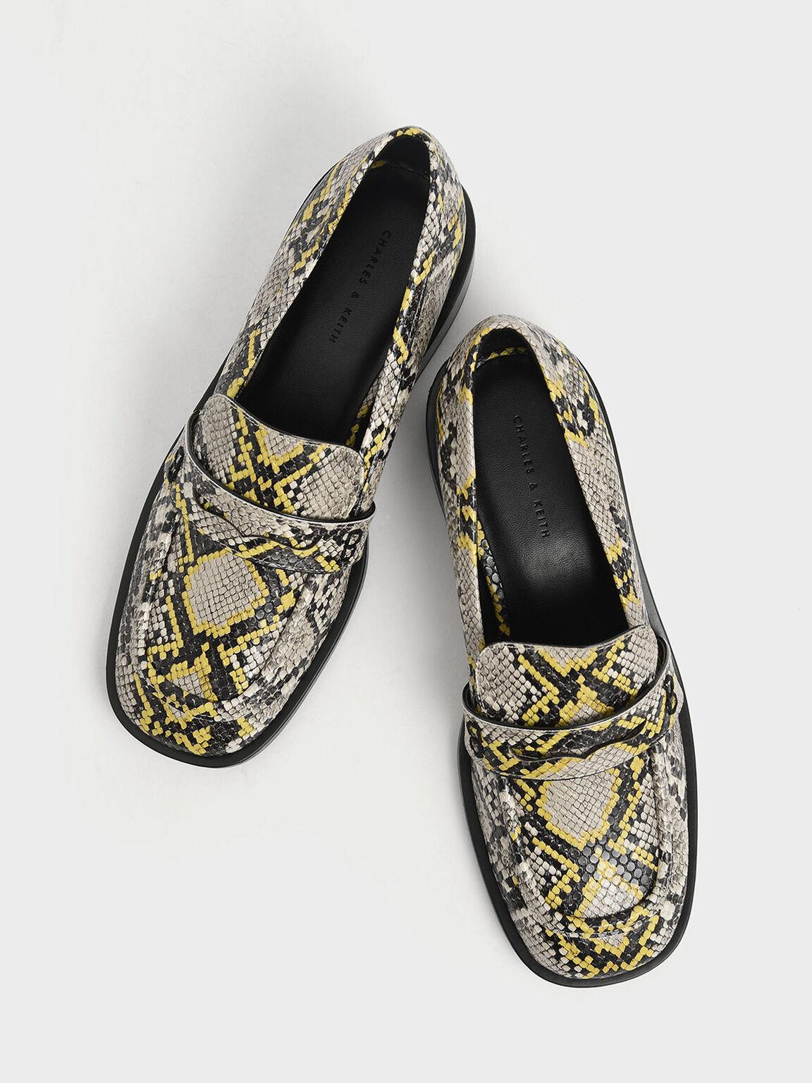 Snake Print Penny Loafers, Multi, hi-res