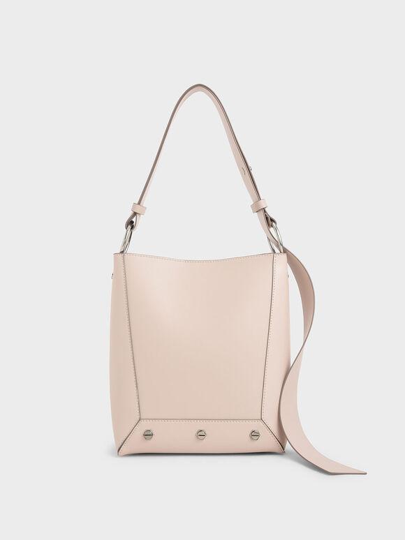 Studded Tote Bag, Light Pink, hi-res