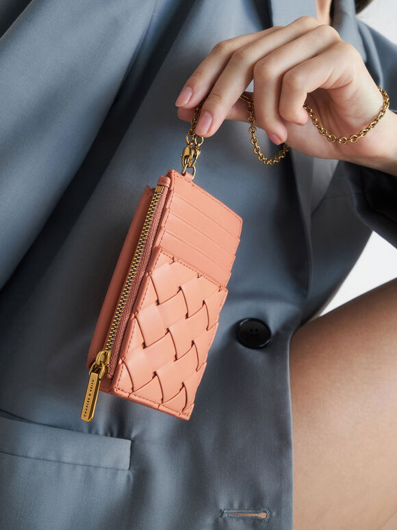 Woven Multi-Slot Card Holder, Orange, hi-res