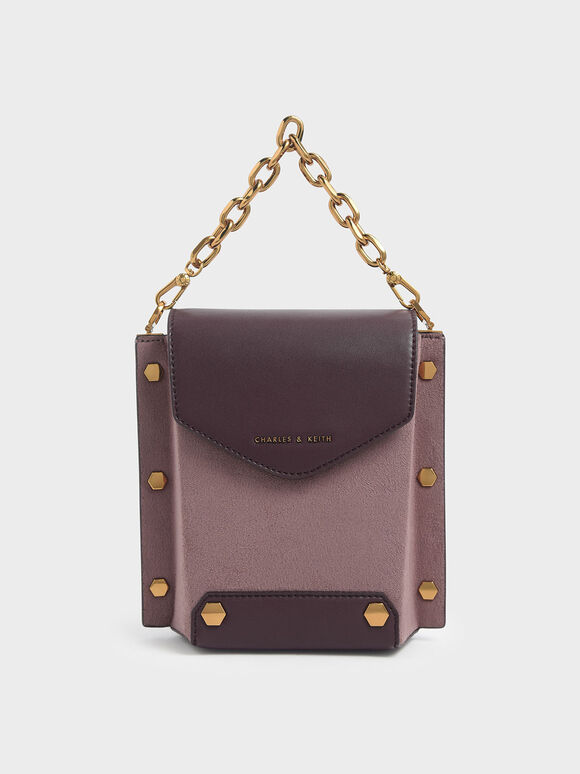 Stud Detail Textured Bag, Mauve, hi-res
