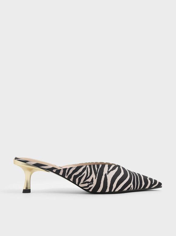 Zebra Print Pointed Toe Mules, Animal Print Natural, hi-res