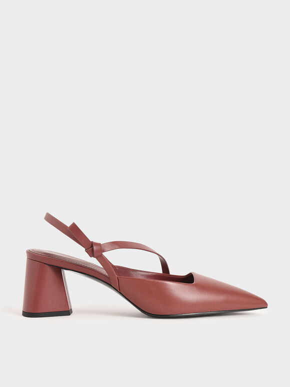 Asymmetric Strap Slingback Pumps, Red, hi-res