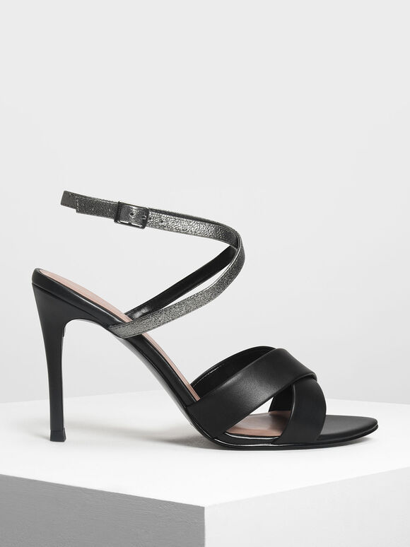 Two-Tone Criss Cross Heeled Sandals, Black, hi-res