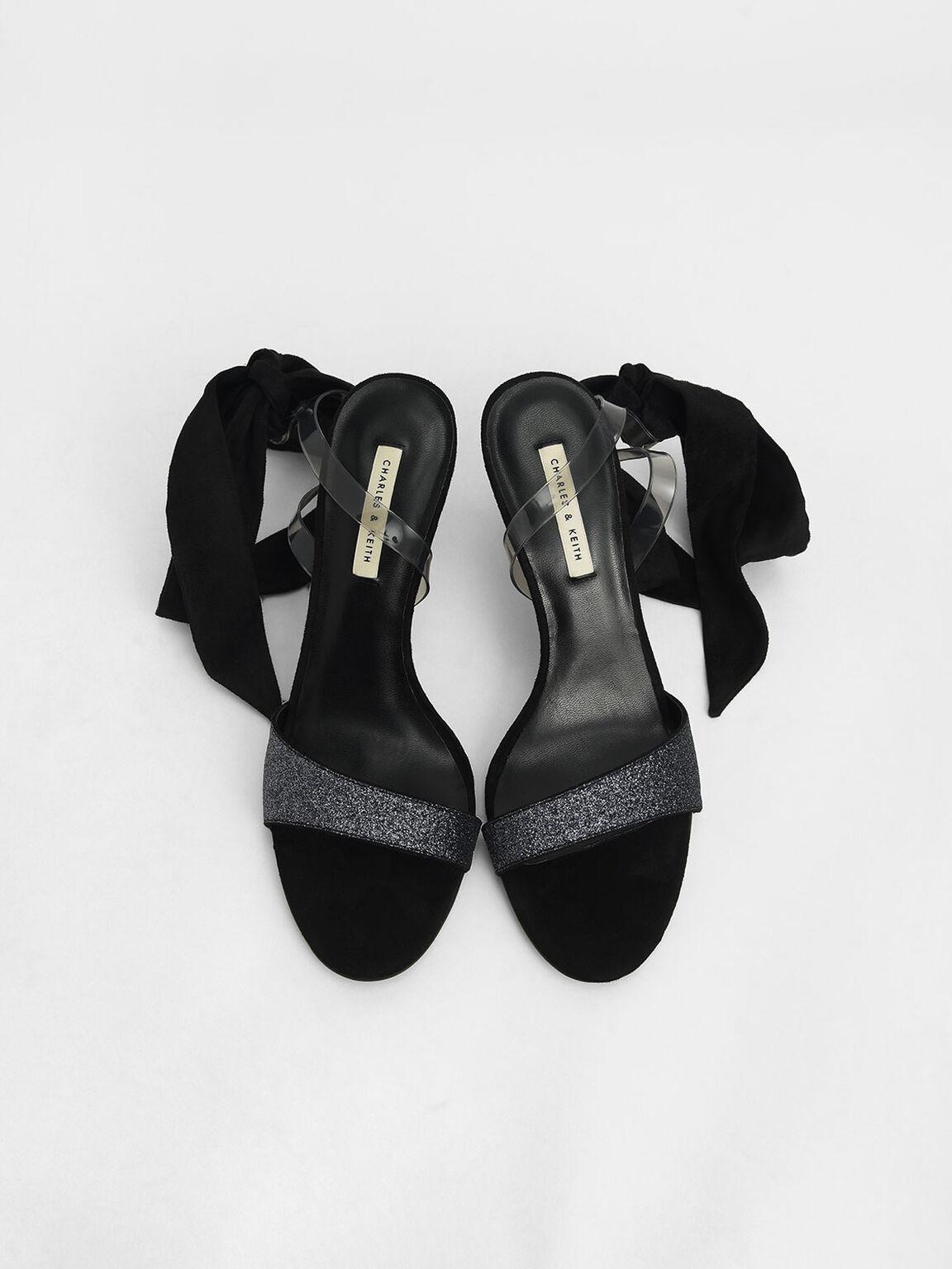 Glitter Ribbon Ankle-Tie Sandals, Black, hi-res