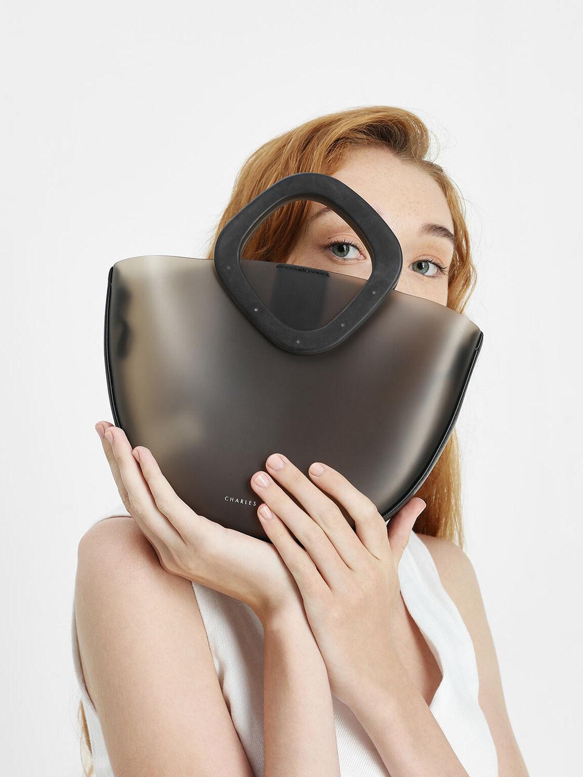 Semi Circle Top Handle Bag, Black, hi-res