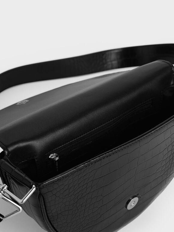 Croc-Effect Semi-Circle Crossbody Bag, Black, hi-res