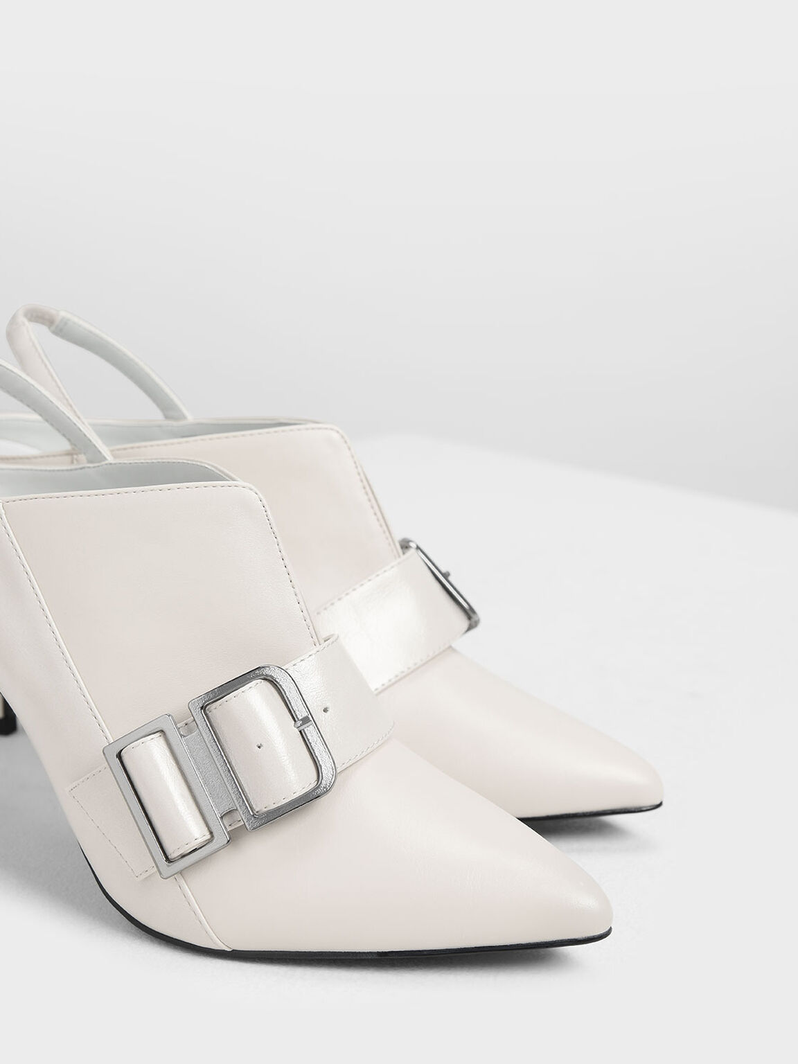 Buckle Detail Slingback Mules, Chalk, hi-res
