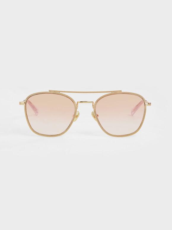 Double Bridge Wireframe Sunglasses, Orange, hi-res