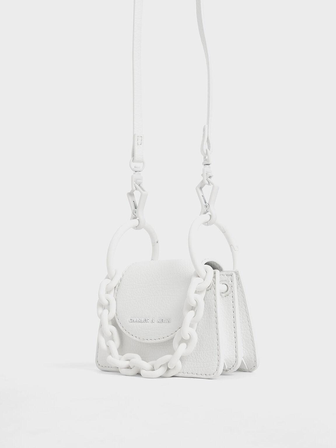 Chunky Chain Handle Mini Bag, White, hi-res