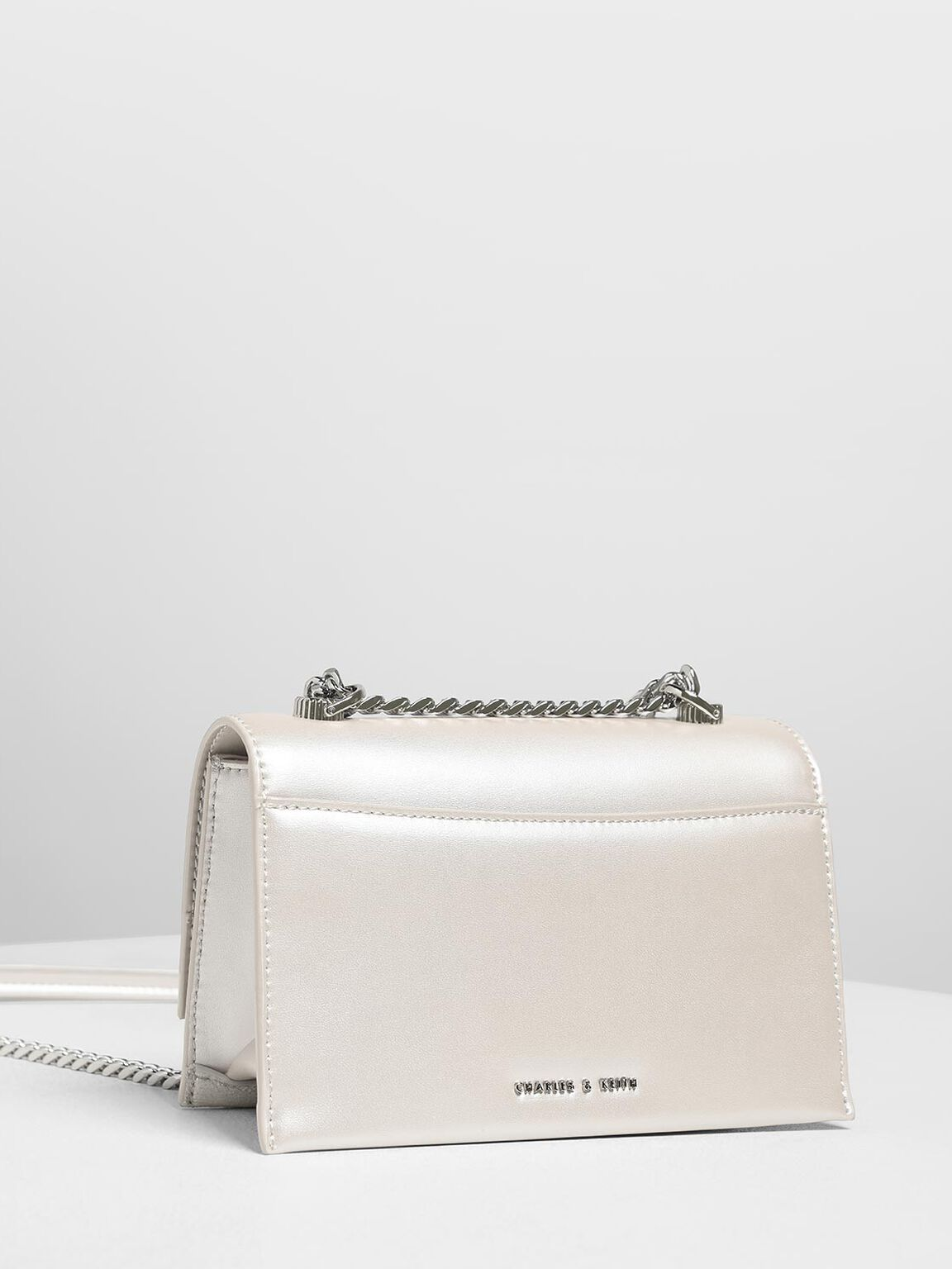 Metallic Ring Push Lock Bag, Pearl, hi-res