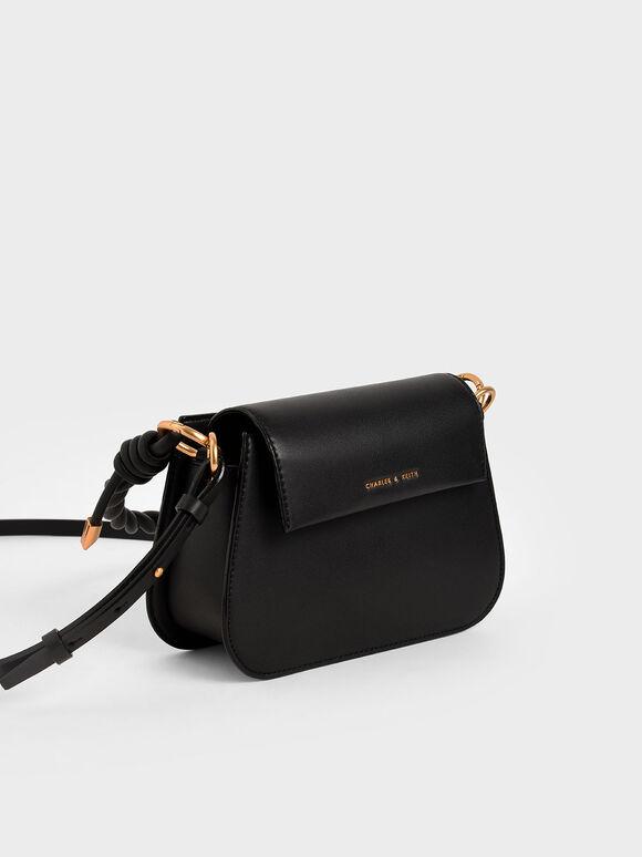 Twist Top Handle Bag, Black, hi-res