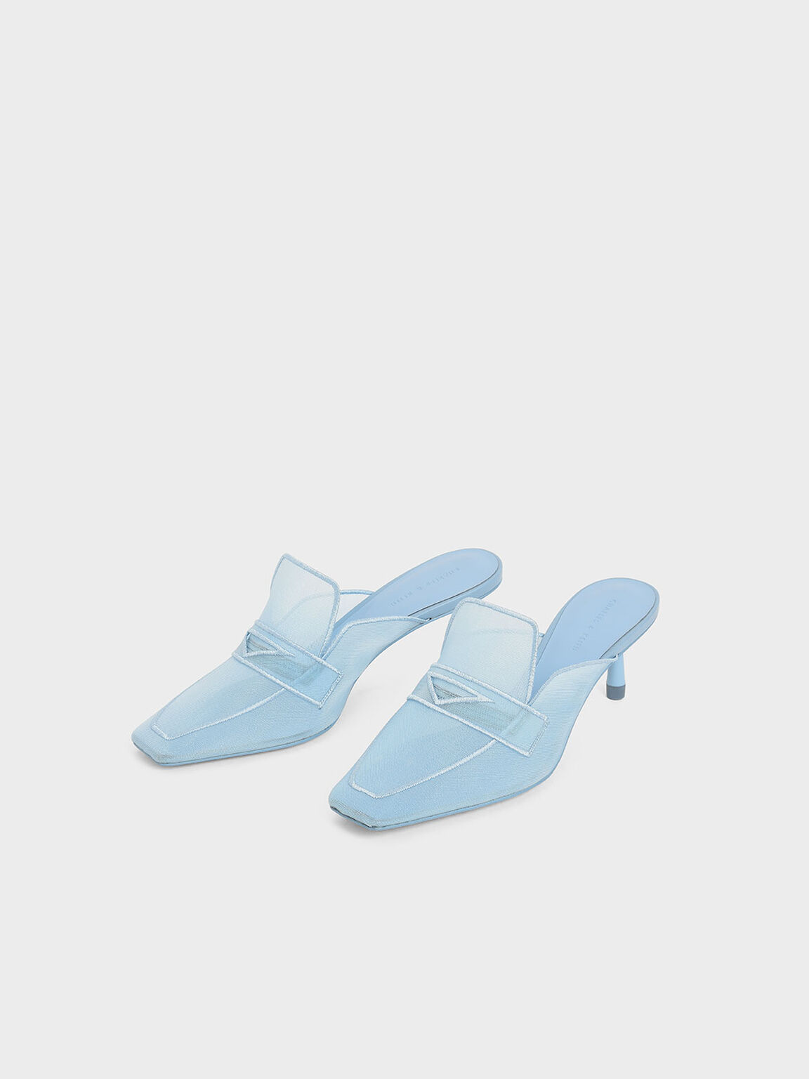 Mesh Loafer Mules, Light Blue, hi-res